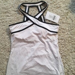 Crisscross neckline workout top with built in bra